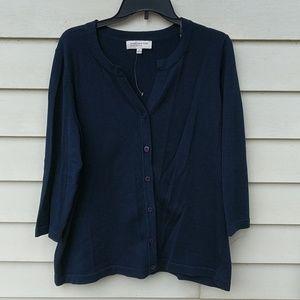 Jones New York Cardigan Sweater 1X Navy Cotton NWT